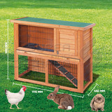 Rabbit Hutch 2 Storey Guinea Pig Cage with TRAY Chicken Hen Coop Ferret cage