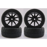 4PCS RC 1/10 Soft Rubber  Tires Tyres Wheel Rim For On Road Car 22011B
