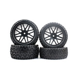 4 PCS Front & Rear Wheel Rim Rubber Tires for HSP 1:10 RC off road Buggy S66002_66004B Black