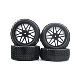 4 PCS Front & Rear Wheel Rim Rubber Tires for HSP 1:10 RC off road Buggy S66009_66011B Black
