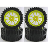 4PCS RC 1:10 Monster  Truck Car Monster Tyres Tires Wheel Rims  Yellow 88004Y