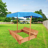 Kids Canopy Sandpit Wooden Play Large Square Outdoor Sand Pit Sand Box 120cm