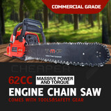 "Teammax Petrol Commercial 20"" 20 inch 62cc Chainsaw Chain Saw e-Start"