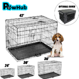 "30"" 36"" 42"" Dog Kennel Collapsible Metal Crate Pet Puppy Cat Rabbit Cage"
