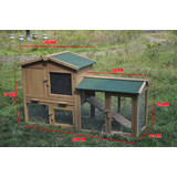 Large Wooden Chicken Hen Coop Rabbit Hutch Guinea Pig Ferret Cage with Single Run