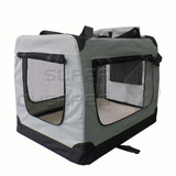 Pet Soft Crate Portable Dog Cat Carrier Travel Cage Kennel Large Foldable L Grey