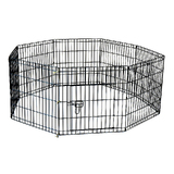24' 61 x 61 cm 8 Panel Pet Playpen Portable Exercise Metal Cage Fence Dog Play Pen Rabbit