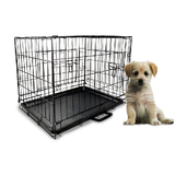 "24"" Small Dog Kennel Collapsible Metal Crate Pet Puppy Cat Rabbit Cage"