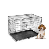 "42"" Large Dog Kennel Collapsible Metal Crate Pet Puppy Cat Rabbit Cage"