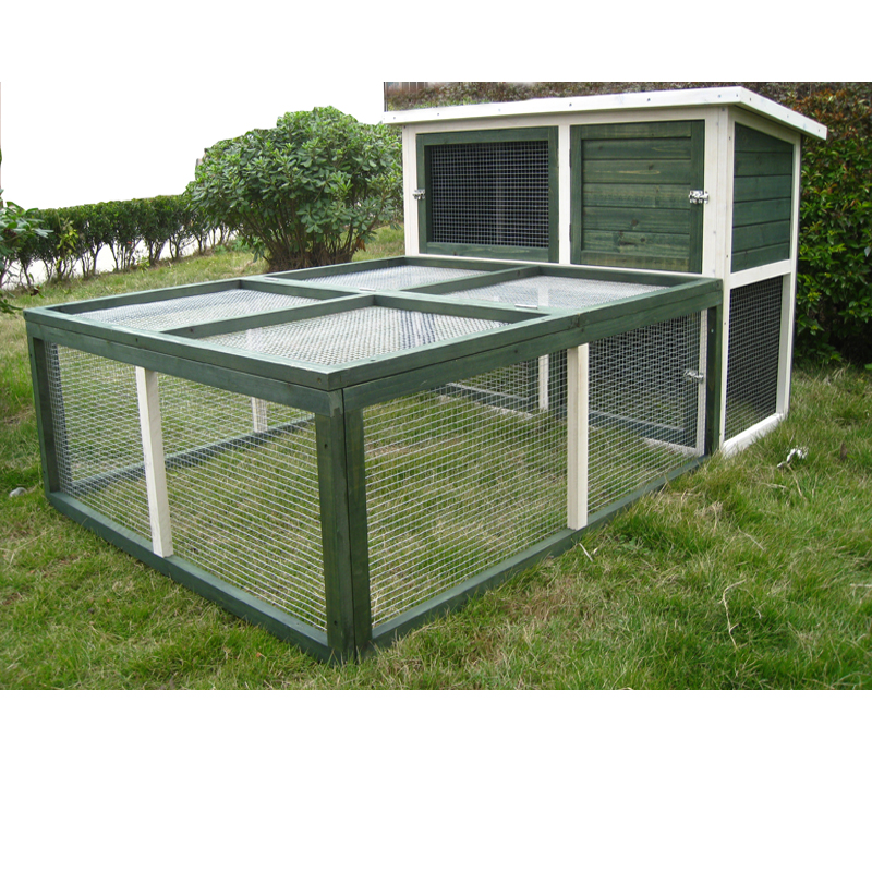 Large Wooden Rabbit Hutch Chicken Hen Coop Cage With Detachable Run