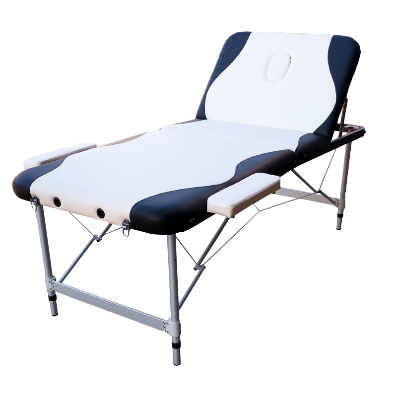Portable Aluminium Massage Table 3 Fold Bed Therapy Waxing 75cm White