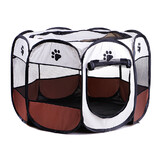 8 Panel Pet Dog Cat Play Pen Bags Kennel Portable Tent Playpen Puppy M Brown
