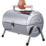 Portable Stainless Steel Barrel Charcoal Grill BBQ Wood Barbecue Outdoor Camping Picnic