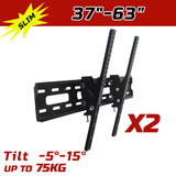 2 X Lcd Led Plasma Tv Flat Tilt Wall Mount Bracket 37 42 46 50 52 60 62 63