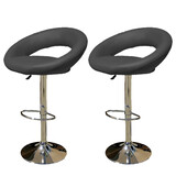 2 X New Pu Pvc Leather Bar Stool Kitchen Chairs Gas Lift Rio Black