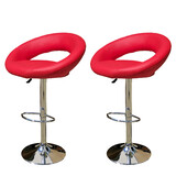2 X New Pu Pvc Leather Bar Stool Kitchen Chairs Gas Lift Rio Red