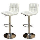2 X New Myra Leather Bar Stools Kitchen Chair Gas Lift Swivel Bar Stool Myra White