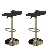 2 X New Pu Leather Bar Stool Kitchen Chair Gas Lift Sena Black