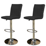 2 X New Myra Leather Bar Stools Kitchen Chair Gas Lift Swivel Bar Stool Enzo Black