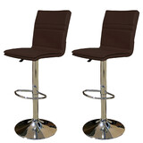 2 X New Myra Leather Bar Stools Kitchen Chair Gas Lift Swivel Bar Stool Enzo Brown
