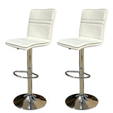 2 X New Myra Leather Bar Stools Kitchen Chair Gas Lift Swivel Bar Stool Enzo White