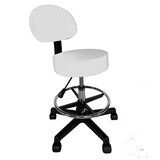 Salon Chair Bar Swivel Stool Office Roller Wheels Portable Leather With Back Foot Rest White