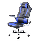 Extra Wide Deluxe Gaming Chair Office Computer Seating Racing Pu Leather Blue