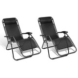 2 X Zero Gravity Recliner Reclining Lounge Folding Outdoor Camping Chairs