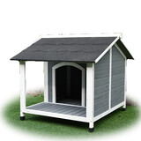 Wooden Pet Dog Kennel Timber Awning House Cabin Wood Log Box 100x91cm