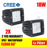 2 PCS 18W CREE LED WORK LIGHT BAR Flood OFFROAD 4WD SUV ATV CAR LAMP 12V