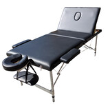 Portable Aluminium Black Massage Table 3 Fold Bed Therapy Waxing 65cm