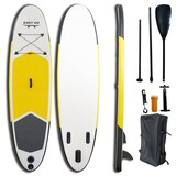 "EASY GO Yellow Inflatable Stand Up Paddle Board SUP Surfboard 120"" Kayak Paddle"