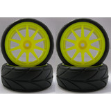 4PCS RC 1/10 Soft Rubber  Tires Tyres Wheel Rim For On Road Car Yellow 22009Y