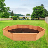 Kids Sandpit Wooden Play Large Round Outdoor Sand Pit Sand Box 1770cm