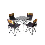 Portable Small Folding Outdoor Camping Picnic Bbq Aluminium Table 5Pcs Chairs Set