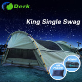 Derk King Single Swag Camping Swags Canvas Tent Deluxe Aluminum Poles & Bag Celadon