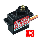 3 pc HD-1900MG Metal Gear Micro Servo for RC plane helicopter